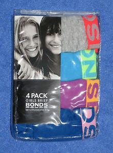4 Pack of Girls BONDS Brief Cotton Sizes 8-10 or 10-12 BNIP