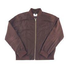 Topman Bomber Jacket Mens Large Burgundy Shiny Full Zip Coat