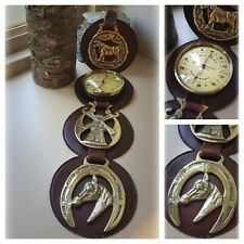 Vintage Horse Brasses & Unusual Thermometer On Hanging Leather Martingale