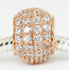 9CT 9KT SOLID ROSE GOLD BEAD with 48 sparkling CZ For Charm Bracelet / Necklace