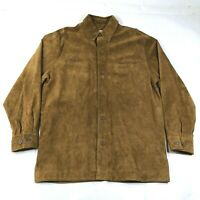 Pronto Uomo Thick Suede Leather Shirt Jacket Mens M Tan Brown Button Down