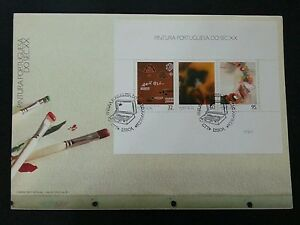 Portugal Art Painting 1990 Brush Color Equipment Tools Drawing (miniature FDC)