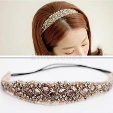 Sparkle Crystal Pearl Beads Headband Wide Hair Band Elastic Bridal Headpiece