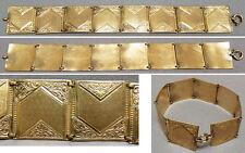 Beau bracelet ancien en métal doré ou pomponne