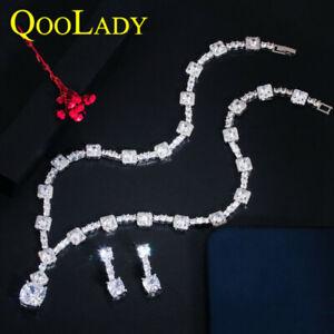 Weiß CZ Runden Quadrat Party Ohrringe Halskette Schmuckset für Bräute Hochzeit