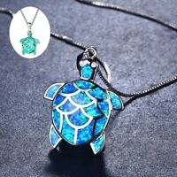Fashion Fire Opal Jewelry Charm Woman Pendant Necklace Turtle 925 Silver Chain