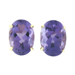14K Yellow Gold 13.0ctw Large Oval Prong Set Amethyst Solitaire Stud Earrings