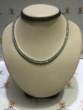 Platinum Sterling Silver White Sapphire Princess Channel Set Tennis Necklace