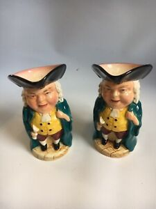 Burlington Ware Toby Jugs Set of Two Vintage Teal & Yellow