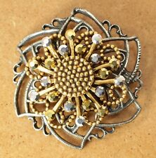 Chicos Silver and Gold Tone Flower Heart Pin