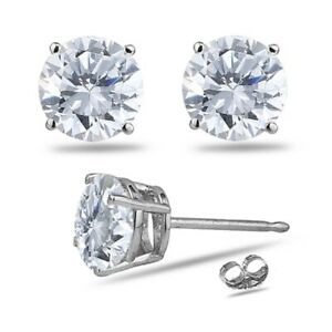 0.06-0.08 Cts SI2-I1 clarity & I-J color Round Diamond Stud Earrings in Platinum