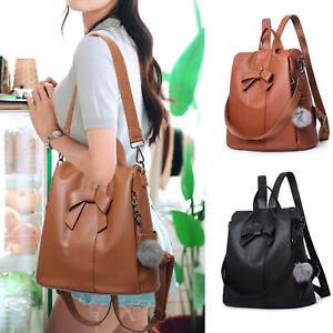 Girls Ladies Women PU Leather Rucksack Handbag Backpack Travel Shoulder Bag UK