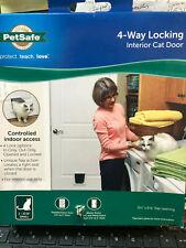 New Pet Safe PetSafe 4-Way Locking Indoor Cat Door White P1-4W-11 1-15 pounds