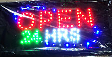 """OPEN 24 HRS ""  LED Light sign ( Brand New)"