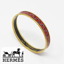 NYJEWEL Hermes Multicolor Enamel & Gold-Tone Anchor Bangle Bracelet