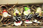 Lot Vintage Pine Cone Putz Chenille DWARF ELVES Christmas Ornaments Japan
