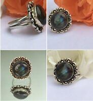 Vintage 70s Mid century Large Sterling Silver Labradorite Ring Size M