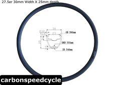 "30mm wide, 27.5"" 25mm clincher carbon MTB rim tubeless  compatible 370g"