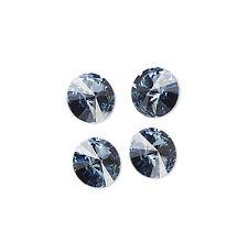 4 Denim Blue Swarovski Crystal Foiled 1122 Rivoli Stone Beads 14MM