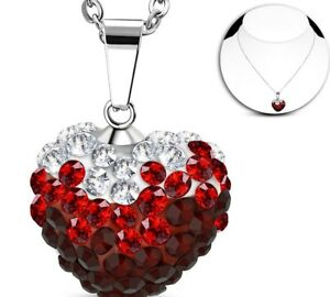 Stainless Steel Love Heart Shamballa Charm Chain Necklace & 45 cm chain