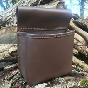 HAND MADE BROWN LEATHER SHOOTING CARTRIDGE POUCH BAG BELT SHELL HOLDER HANDY