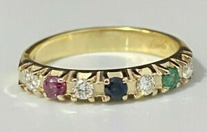 18CT solid gold W/ Diamond & Multi Gems Band Ring 3.48g size O 1/2 -  7 1/4