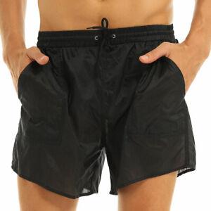 Men's See Through Drawstring Boxer Shorts Quick Dry Swimming Trunks Underwear