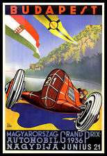 Grand Prix FRIDGE MAGNET 11x16 Budapest 1936 Vintage Magnetic Poster