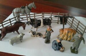 14 Vintage Britains lead toys: farmer milkmaids fence cow sheep scarecrow horse