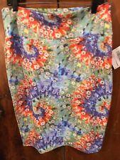 LuLaRoe Cassie Skirt L Tie Dye Red Blue Green