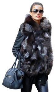 Ladies Carolina Herrera Fox Real Fur Sleeveless Gilet Jacket Coat vest Small