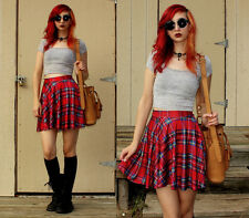 Red TARTAN Skater SKIRT High Waist PLAID Circle FLIP Mini SCHOOL Punk NEW 8-12