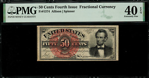 FR-1374 $0.50 Fourth Issue Fractional Currency - 50 Cent - Graded PMG 40 EPQ