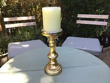 GOLD GLASS CANDLESTICK & BATTERY OPERATED WAX CANDLE