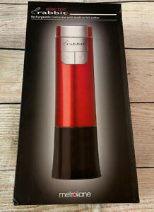 New Metrokane Electric Rabbit Rechargeable Corkscrew Red Built-in Foil Cutter