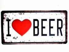 I LOVE BEER METAL TIN SIGNS vintage cafe pub bar garage decor shabby chic