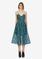 Self Portrait Ladies Maxi Sling Strap Shining Sequins Perspective A-line Dress