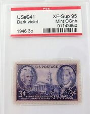 .US STAMP #941 1946 3c DARK VIOLET PSE GRADED XF-SUP 95 MINT OGnh