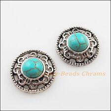 3Pcs Retro Tibetan Silver Turquoise Flower Charms Pendants Connectors 18mm