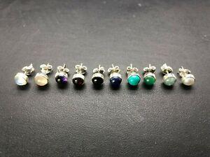 Sterling Silver Gemstone Stud Turquoise Moonstone Amethyst Garnet Lapis Earrings