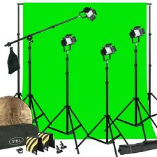 LED Photography Kit 200W Video Lights  Barndoors Boom Chromakey Support System