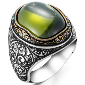 Solid 925 Sterling Silver Olive Colour Stone Turkish Men's Ring