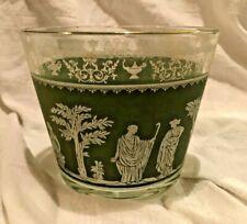 Vintage Wedgwood Jasperware Glass Ice Bucket Jeannette Glassware Green