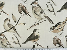 Drapery Upholstery Fabric Bird Branch Watercolor Screen Print on Linen - Winter