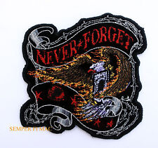 NEVER FORGET POW MIA PATCH US AIR FORCE NAVY ARMY MARINES USCG VIETNAM EAGLE WOW