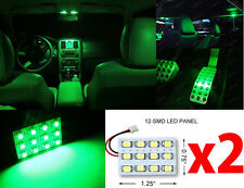 2x T10 & Festoon Universal 12 SMD Neon Green LED Panel Interior Dome Map Light