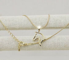 HORSE  WESTERN JEWELLERY JEWELRY LADIES HORSE HEAD SILHOUETTE NECKLACE GOLD