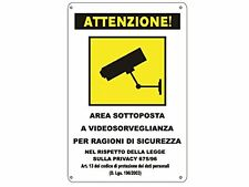 Cartello Targa ALLUMINIO Area Videosorvegliata Sottoposta a Videosorveglianza