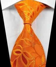 New Classic Patterns Orange Gold JACQUARD WOVEN 100% Silk Men's Tie Necktie
