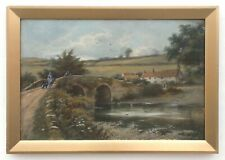 English Country Landscape Antique Oil Painting Malmsmead Bridge River Crossing